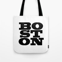 boston Tote Bags featuring Boston by Jeremy Jon Myers