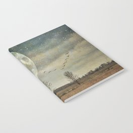 Supermoon Arrival - full moon photo, surreal landscape tree photo Notebook