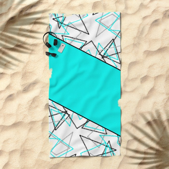 Abstract turquoise combo pattern . Beach Towel