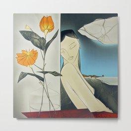 La Creature aux Fleurs, female form nude with marigolds portrait painting by Georges Yatrides Metal Print