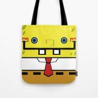 spongebob Tote Bags featuring SpongeBob by nu boniglio
