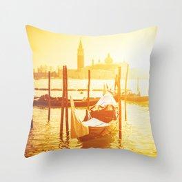 venice skyline with gondola Throw Pillow