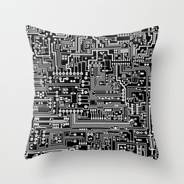 Circuit Board on Black Throw Pillow
