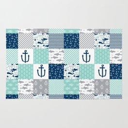 Nautical anchors sharks whales quilt cheater quilt nursery pattern art Rug