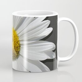 Contemporary White Daisy on Grey Pop Of Yellow Art A490 Coffee Mug
