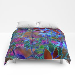 Floral Abstract Stained Glass G174 Comforters