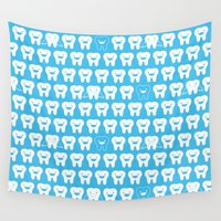 tooth Wall Tapestries featuring Happy Tooth Fairy by littleoddforest