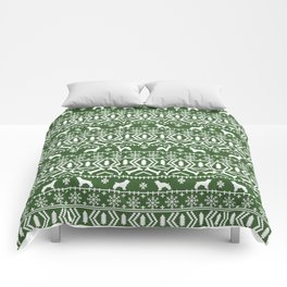 Cocker Spaniel fair isle christmas pattern dog breed holiday gifts green and white Comforters