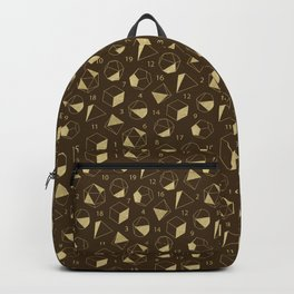 Dice Outline in Gold + Brown Backpack
