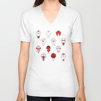 calendar V-neck T-shirts featuring Calendar monsters by Nika Belova