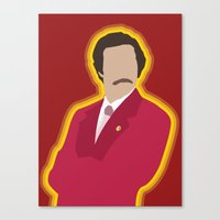 anchorman Canvas Prints featuring Ron Burgundy: Anchorman by The Vector Studio