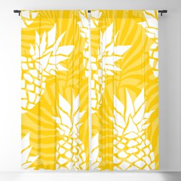 Bright Yellow, Summer, Pineapple Art Blackout Curtain