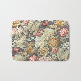 Gray Gold White Rose Pattern Bath Mat