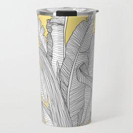 Banana Leaves Illustration - Yellow Travel Mug