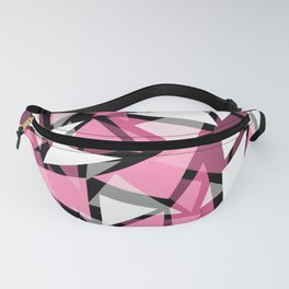 Gray and pink, geometric, abstract, modern Fanny Pack