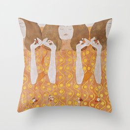 Beethoven Frieze by Gustav Klimt Throw Pillow
