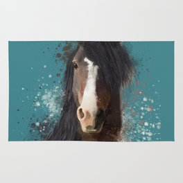 Black Brown Horse Artwork Rug