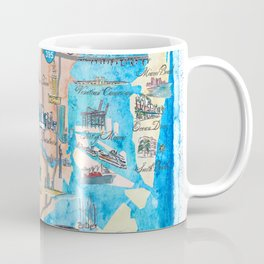 Miami Florida Fine Art Print Retro Vintage Map with Touristic Highlights Coffee Mug