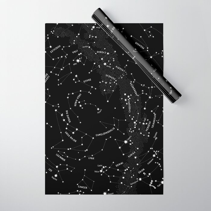 Constellation Map - Black Wrapping Paper