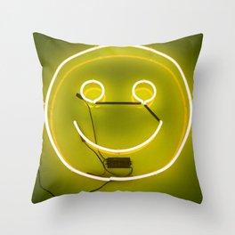 YELLOW SMILE NEON SIGN Throw Pillow