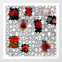 poppy love in puzzle design Art Print