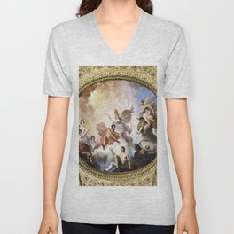 Fresco on Ceiling in Paris Unisex V-Neck
