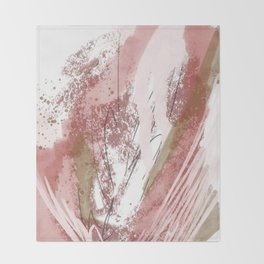 Sugar and Spice: a minimal, abstract mixed-media piece in pink and brown by Alyssa Hamilton Art Throw Blanket