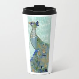 Peacock 1 Mixed Media on Canvas Travel Mug