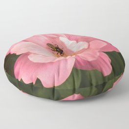 A rose and the fly insect Floor Pillow