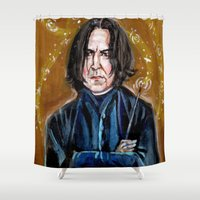 snape Shower Curtains featuring Professor Snape by dawn schreiner