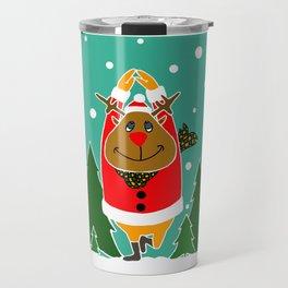 Christmas Deer Practicing Yoga Travel Mug