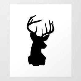 Black & White Stag Head Art Print