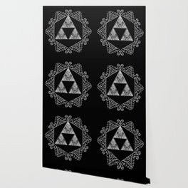 Triforce Aztec White Pattern Wallpaper