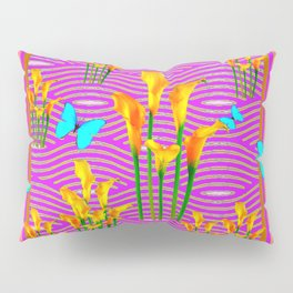 Pink Coral-Purple Blue Butterfly Lily Art Pillow Sham