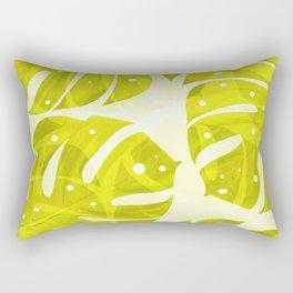 Lime Green Monstera Leaves Light Background #decor #society6 #buyart Rectangular Pillow