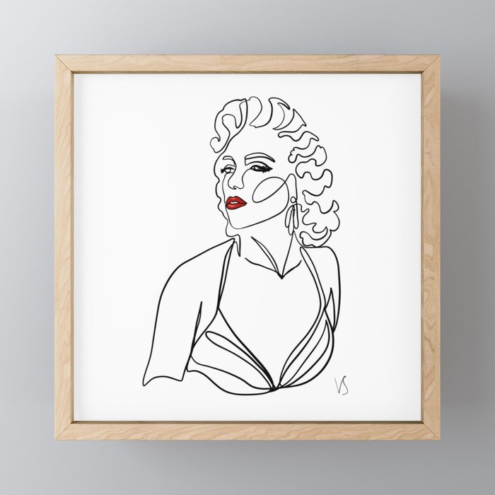 Vintage movie star - one continuous line ink abstract drawing. Framed Mini Art Print