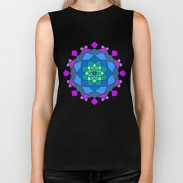 Mandala in blue and pink colors Biker Tank