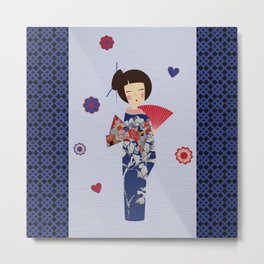 Kokeshi Geisha Japan Blue Metal Print