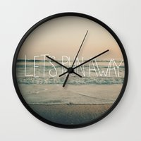leah flores Wall Clocks featuring Let's Run Away by Laura Ruth and Leah Flores  by Laura Ruth