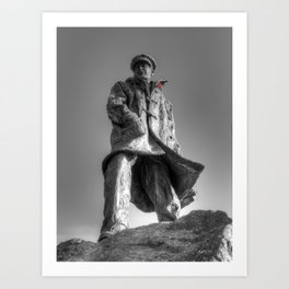 Colonel Sir Archibald David Stirling with a red poppy Art Print