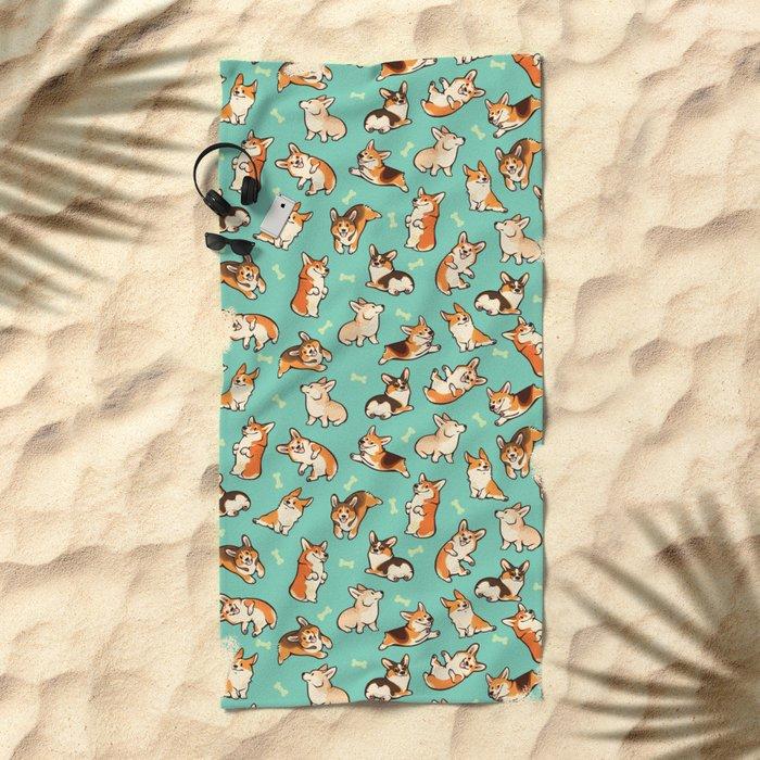 Jolly corgis in green Beach Towel