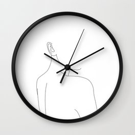 Woman's nude back and shoulders illustration - Alina Wall Clock