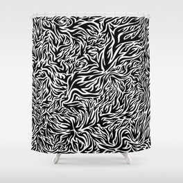 Black And White Psychedelic Flames Shower Curtain