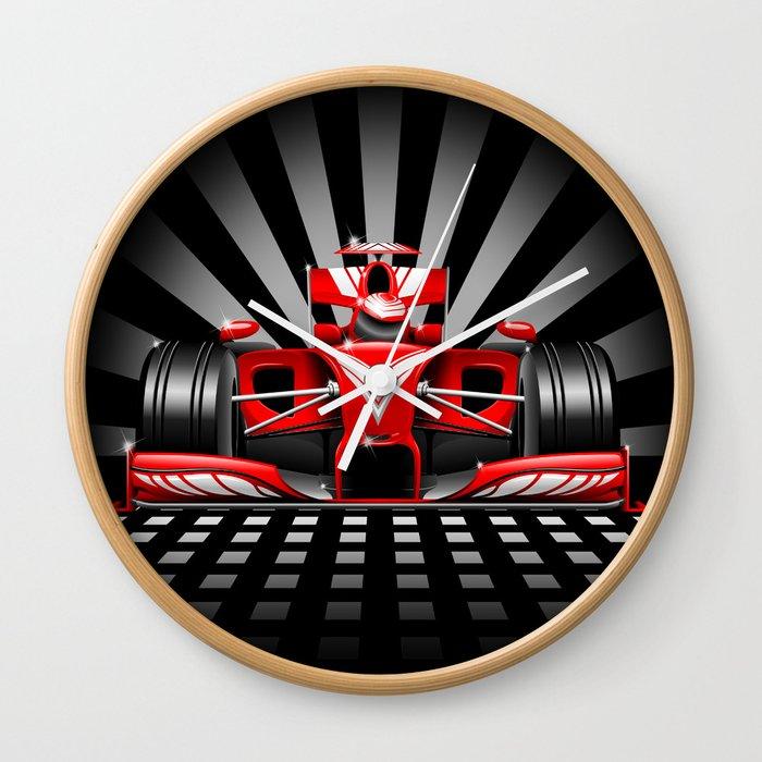 Formula 1 Red Race Car Wall Clock By Bluedarkatlem Society6