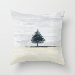 Lone tree in desert Throw Pillow