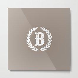 Beige Monogram: Letter B Metal Print