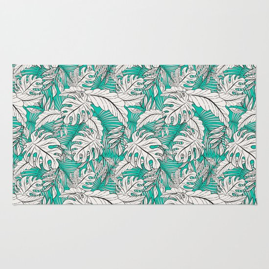 Desert Dance Turquoise Rug: Drawing Of Tropical Plants On Turquoise Rug By Mmartabc