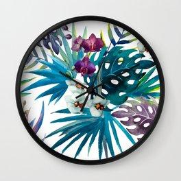 Tropical Watercolor Pattern Var. 6 Wall Clock