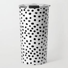 Preppy black and white dots minimal abstract brushstrokes painting illustration pattern print Travel Mug