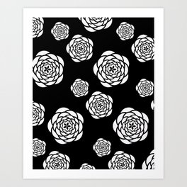 Black and white mod flower pattern Art Print
